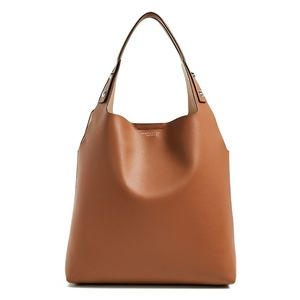 Tory Burch Rory Leather Tote in Light Umber